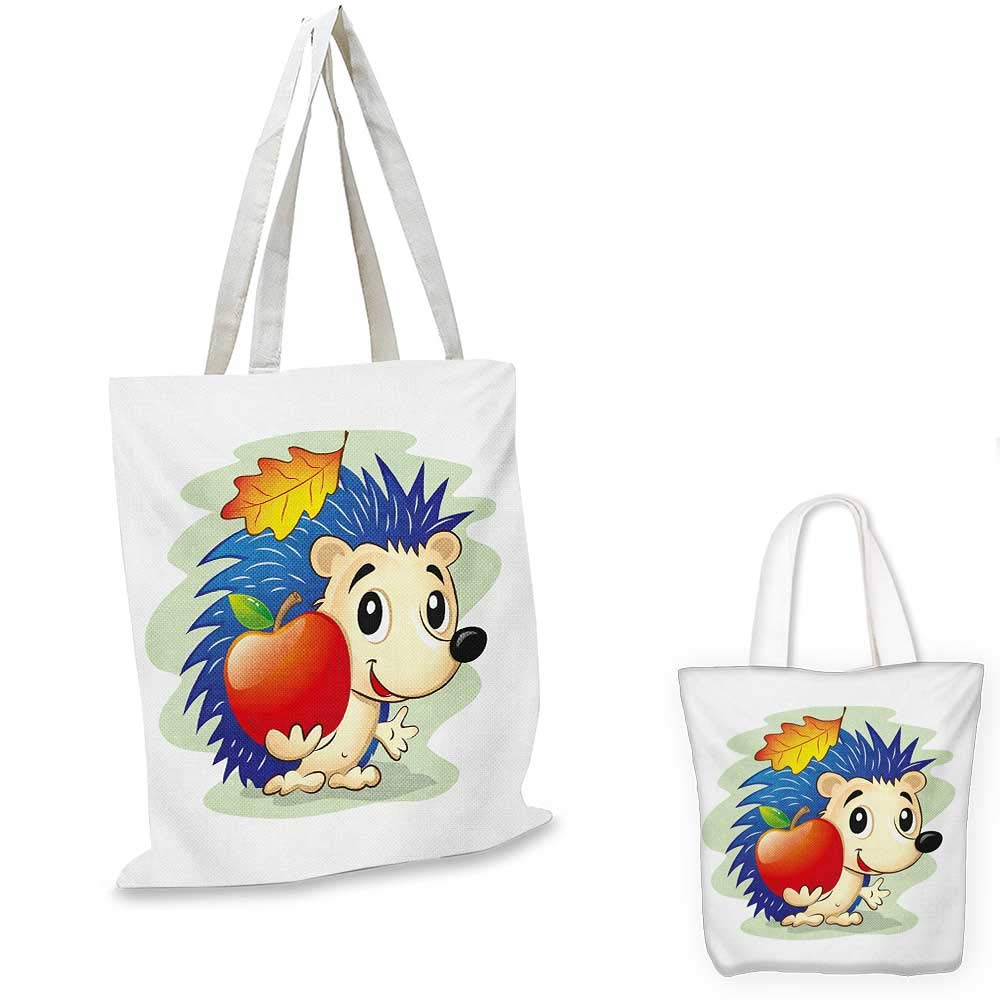 Hedgehog canvas messenger bag Brushstroke Style Striped Backdrop Funny Animals with Floral Patterns canvas beach bag Pale Orange Black White 12x15-10