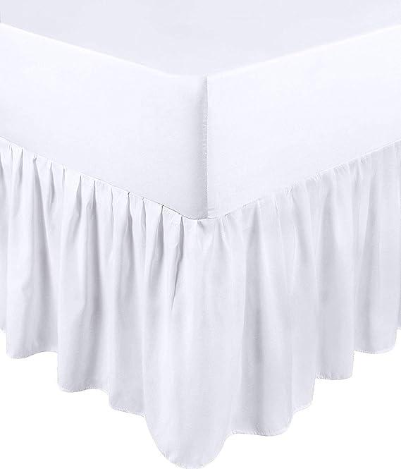 Utopia Bedding Falda De Cama con Volantes - Cama 90 - Extra Profundas (Ajuste De Caja 25 cm + 40 cm Volantes Caída) - (Blanco, 90 x 190 cm)