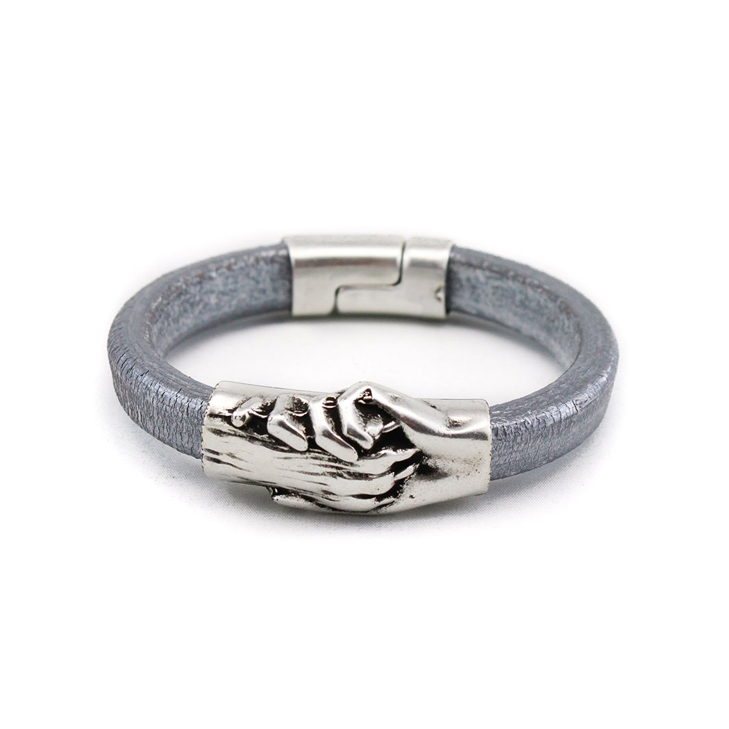 Hand and Paw Project Leather Bracelet, Medium, Silver