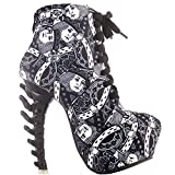 SHOW STORY Punk Design Black White High Heels Poker Women's High-top Bone High Heel Platform Ankle Boots,LF80647AB38,7US,Poker