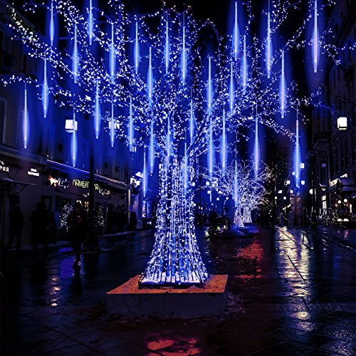 Meteor Lights, Pomelotree 20in 10 Tubes 540 Waterproof LED Meteor Shower Rain Cascading Lights for Wedding Christmas New Year Party Tree Decoration(Blue)