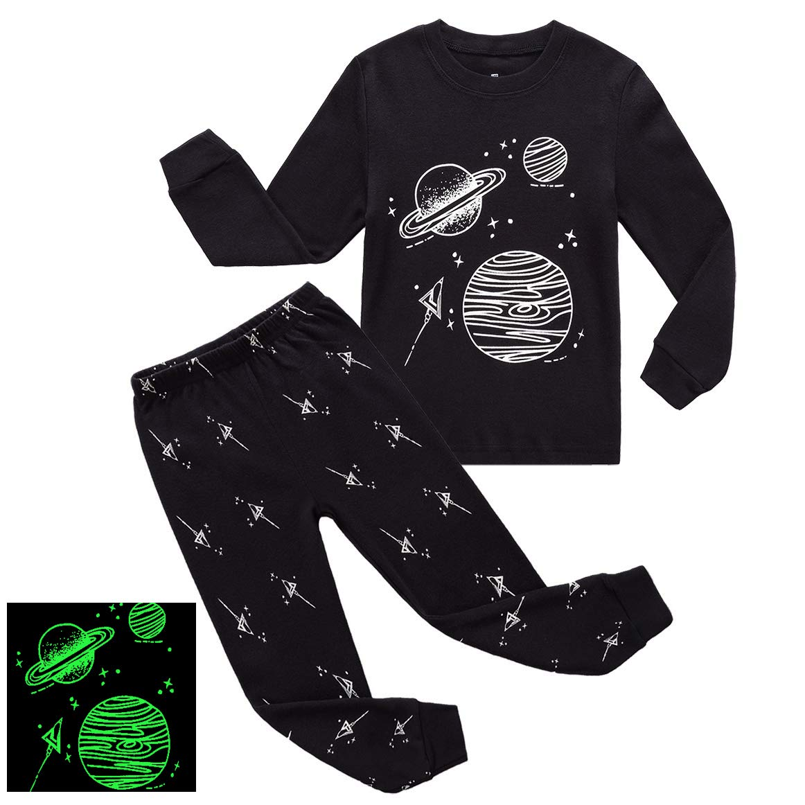 RKOIAN Little Boys Girls' Pajamas Sets Glow in The Dark Toddler Pjs Cotton Kids Sleepwears