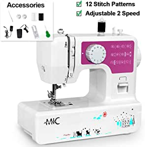 Portable Sewing Machine with 12 Built-in Stitches, Great Household Sewing Machine for Beginners Double Thread Mini Sewing Machine for Mother Extension Table