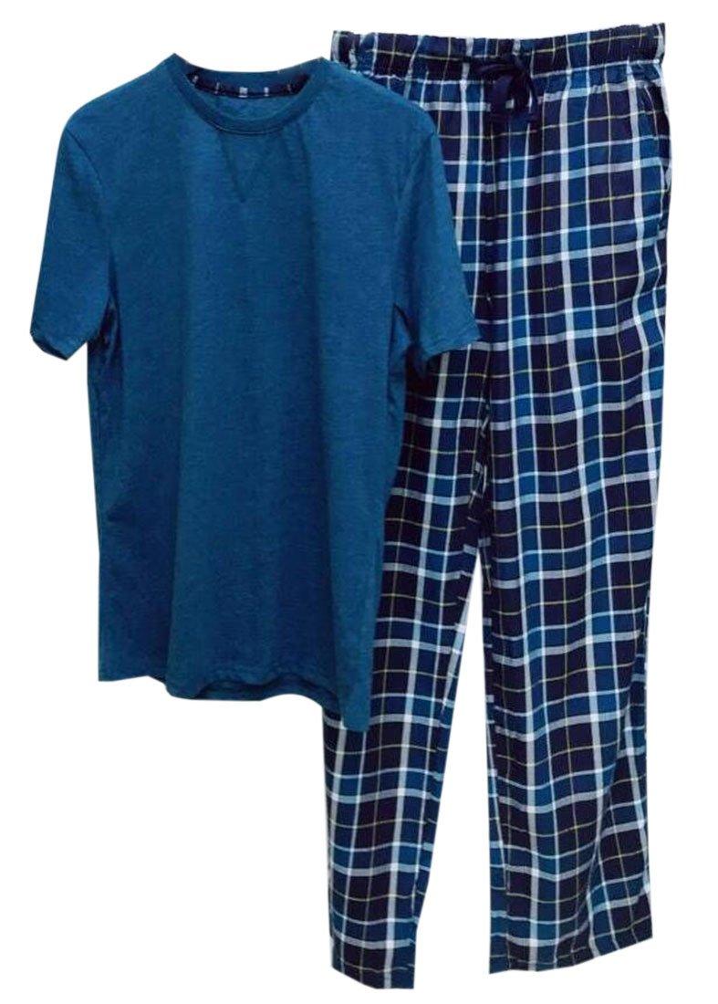 YUELANDE Men Cotton Short Sleeves Top Sleepwear Men Long Pants Plaid Pajamas Set