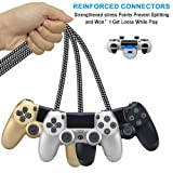 PS4 Controller Charger Charging Cable,Nylon Braided Micro USB Cable Android Charger Data Sync Cord for Xbox One S/X,Playstation 4,PS4 Slim/Pro,Samsung Galaxy S7 Edge/S6,Kindle,HTC,LG,Sony 3 Pack 6FT