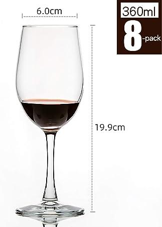 [Set de 8, 12 onzas] vasos de vino multiuso, sin plomo, clásico.