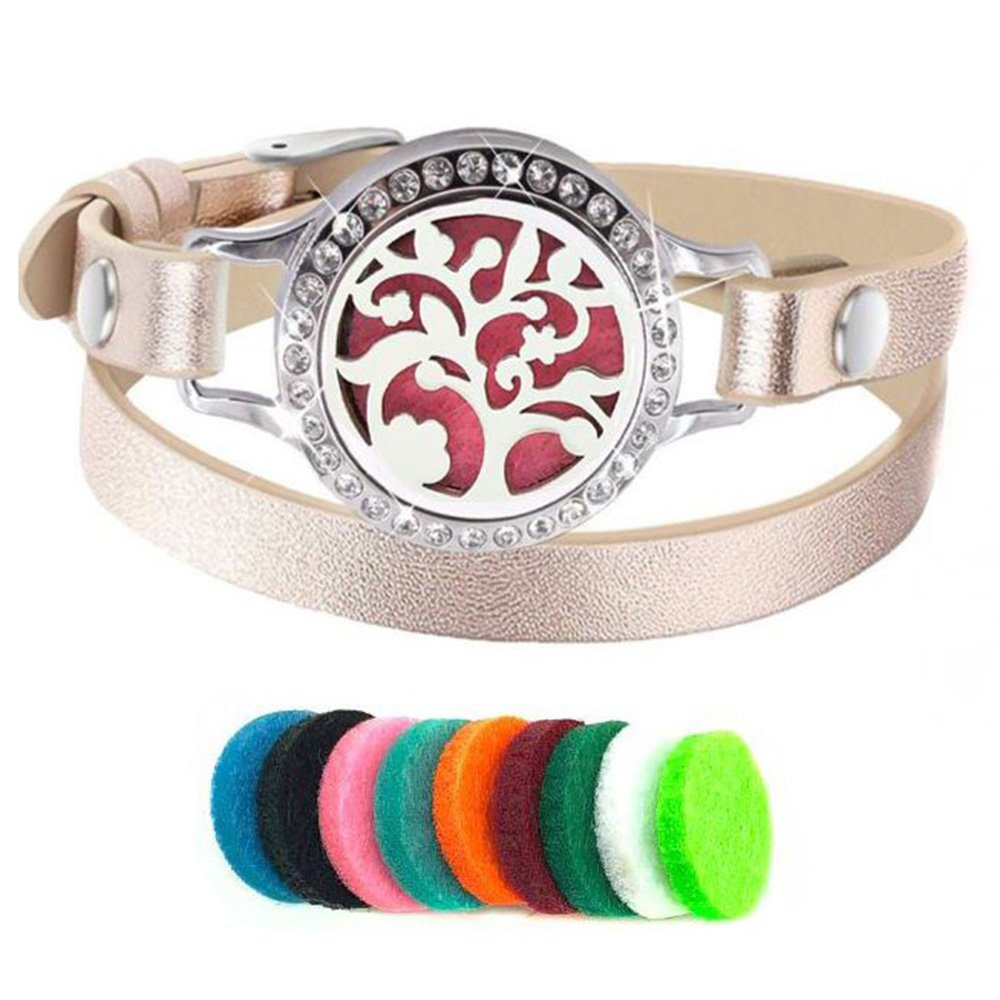 Efantina Tree of Life Essential Oils Diffuser Aromatherapy Bracelets Jewelry Rose Gold leather Wrap band