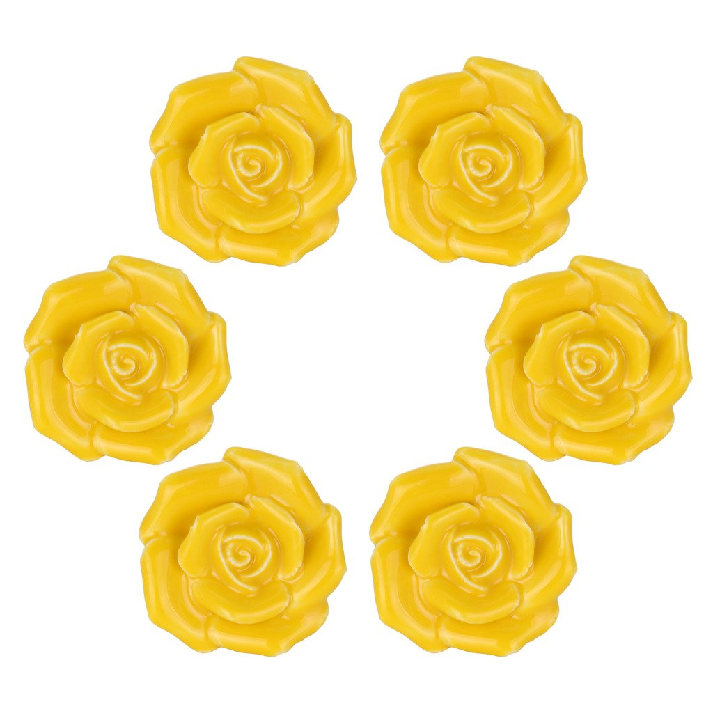 WOLFTEETH Yellow Elegant Rose Flower Knobs Vintage Ceramic Pulls Kitchen Cabinet Dressing Table Dresser Handle 6pcs