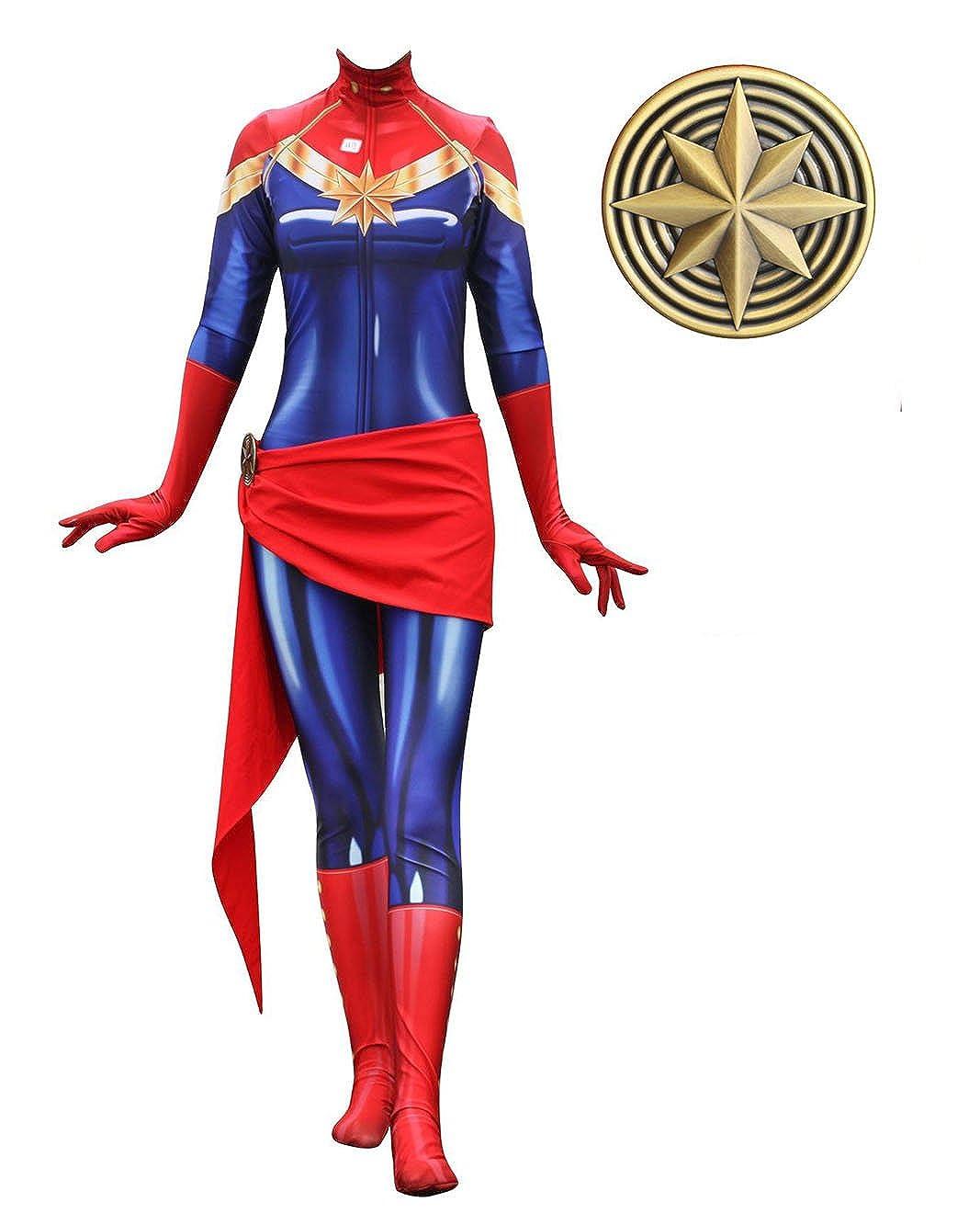 Cosplay Lady Captain Suit Halloween Costume Spandex Bodysuit Zentai