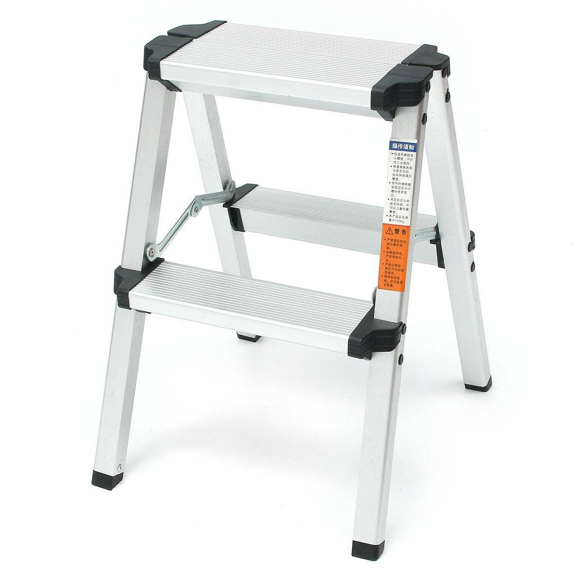 OlogyMart 150KG Maximum Load 2 Step Stool Folding Ladder Anti Slip Safety Alu um Ladder