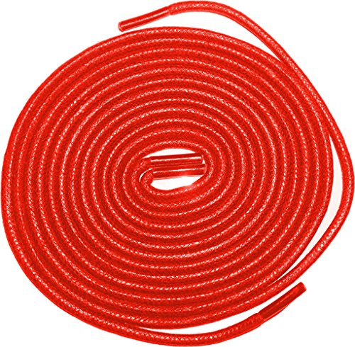 "Shoeslulu 59"" Premium Round Waxed Canvas Shoelaces Bootlaces (59 in. (150 cm), Firebird Red)"
