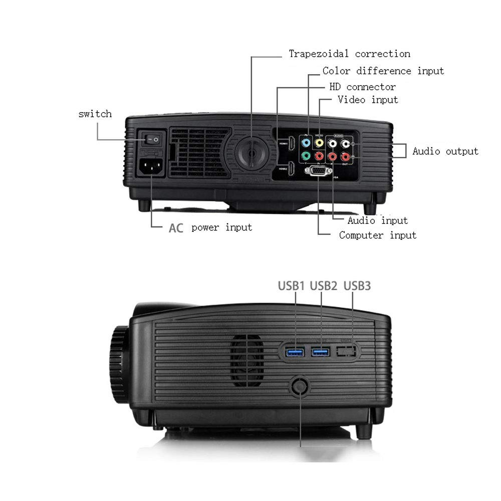 LiChenYao HD Projector SUV-328 LED Home Office Education Multi-Function Projector (Color : Black) by LiChenYao (Image #6)