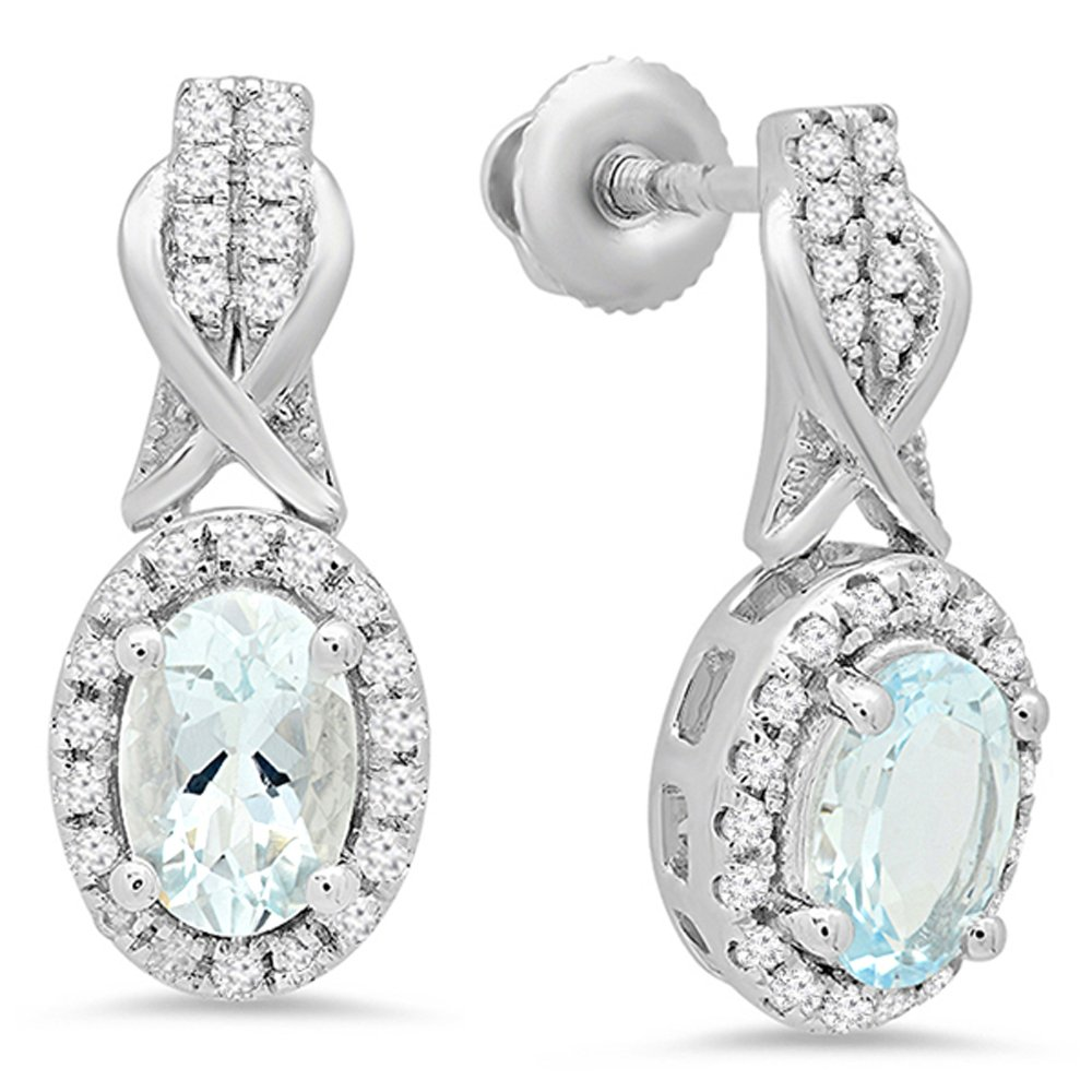 10K White Gold Oval Aquamarine & Round White Diamond Ladies Halo Style Dangling Drop Earrings by DazzlingRock Collection