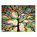 """Custom Beautiful Modern Art Abstract Painting Colorful Tree of Life Canvas Print 14"""" x 11"""" Inch, Stretched and Framed Artwork Decor Wall Living room Office Art Abstract Colorful Tree of Life Oil Paintings Picture Canvas Print Home Decor from Ownhome"""