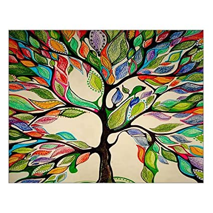 Custom Beautiful Modern Art Abstract Painting Colorful Tree Of Life Canvas Print 14 X 11 Inch Stretched And Framed Artwork Decor Wall Living Room