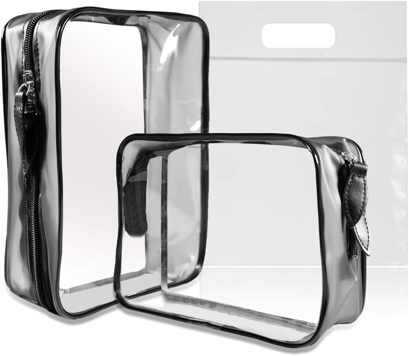 MOCOCITO Necesers Transparentes y 1 Bolsa de Vuelo para Líquidos (20cm x 20cm,1L), Bolsa de Cosméticos Impermeable para Hombre y Mujer