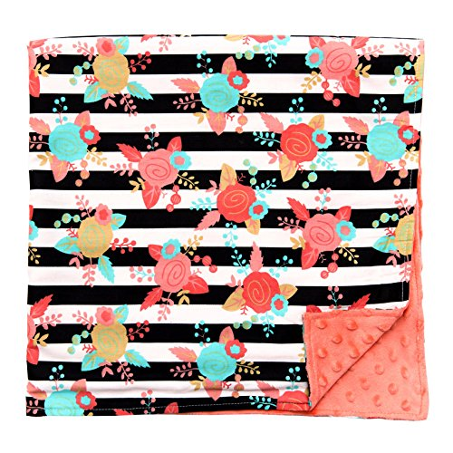 JLIKA Baby Blanket for Girls Swaddle Newborn Receiving Blankets - Coral (30x30) - Minky Toddler Car Seat Cover