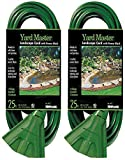 2-PACK - Woods 984413 25-Foot Outdoor Extension Cord with 3-Outlet Power Block, Green