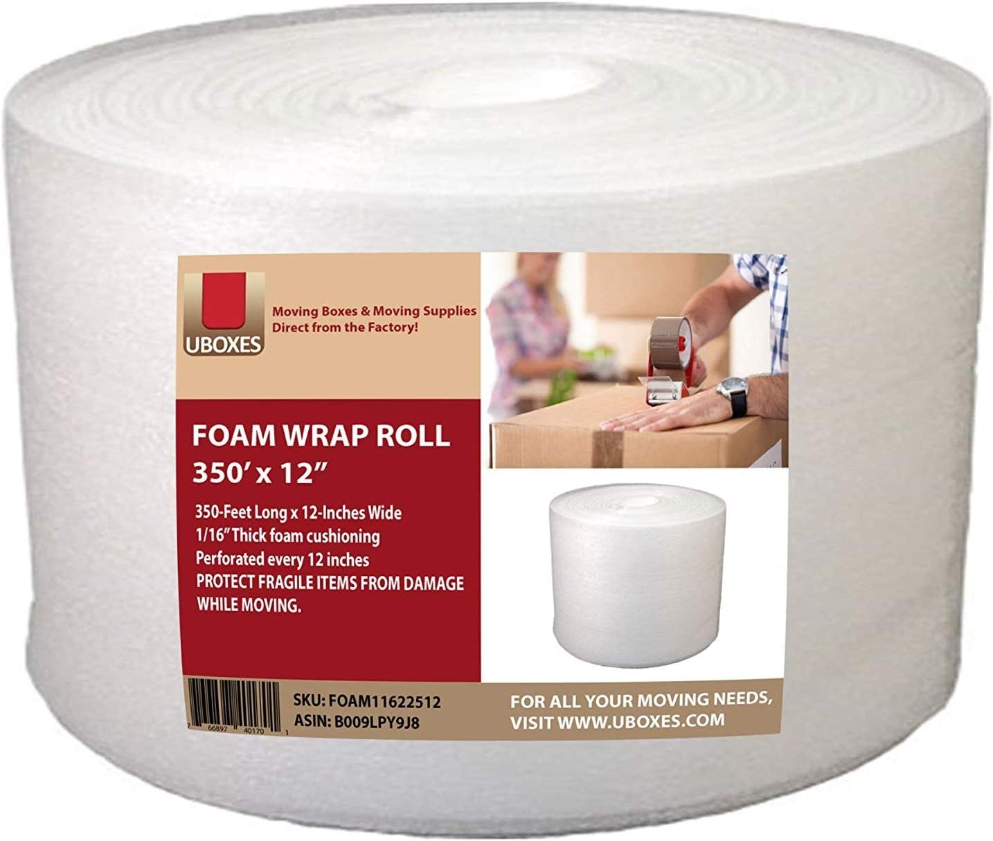 "UBOXES Foam Wrap Roll 320' x 12"" Wide 1/16 Thick Cushion - 12"" Perforation: Office Products"