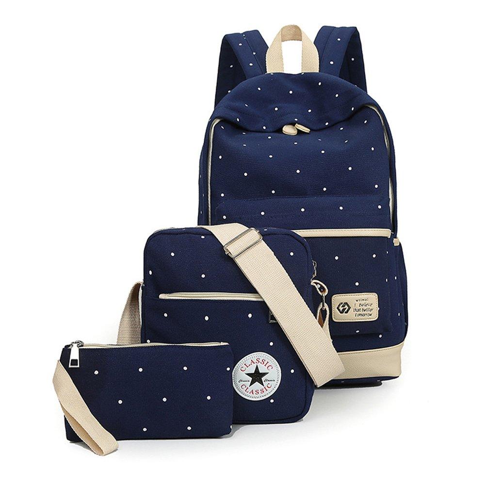 キャンバス学校バックパックのセット3キュートドットブックバッグ B06XRFGXTT ネイビーブルー