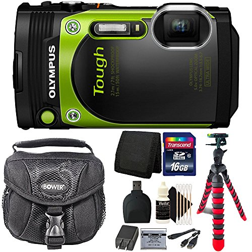 Olympus Stylus TOUGH TG-870 16MP Waterproof Shock Proof Freeze Proof Digital Camera (Green) with 16GB Accessory Kit