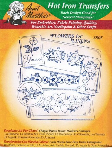 Flowers For Linens Aunt Martha's Hot Iron Embroidery Transfe