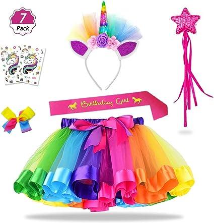 Amazon.com: Daisyformals Unicorn Rainbow Tutu Falda Set con ...