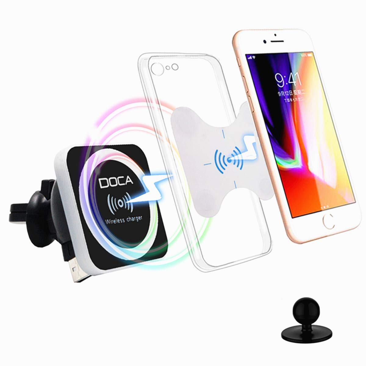 DOCA Magnetic Wireless Car Charger, QI Wireless Car Charger Air Vent Mount Holder for i Phone XR,XS,Max,X,8,8P, Samsung Galaxy Note 8 S8/S8 Plus S7 Edge and All Wireless Enabled Devices by DOCA