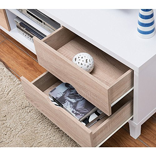 1PerfectChoice Modern Home Furniture TV Stand Entertainment Center Console Table Wood White