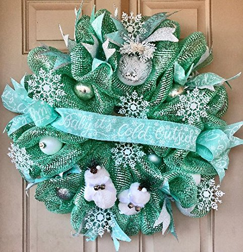 Christmas Mint-Green Gorgeous Wreath with unique &quotBaby, it's Cold Outside&quot Ribbon and other Glittery Christmas Ornaments