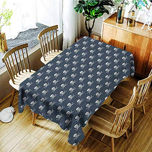 XXANS Washable Tablecloth,Pirates,Jolly Roger Pattern in Classic Nautical Colors Dangerous Halloween Character,Dinner Picnic Table Cloth Home Decoration,W60X90L Dark Blue White]()