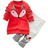 Sunenjoy Vêtements Bébé Garçon Fille Sweatershirt 2 PCs Fox Orange Long Manchon Plus épaisses Top + Pantalon Tenues Ensemble
