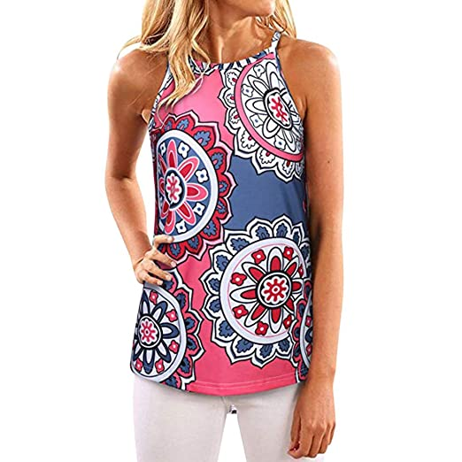 52c159a411d Image Unavailable. Image not available for. Color: iYBUIA Women's Floral  Tank Tops Sleeveless High Neck Camis Shirt Flowy Halter ...