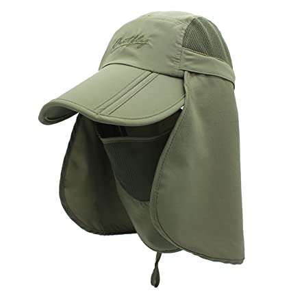 a810f0ad UNIQME Sun Cap Fishing Hat for Men Women, UPF 50+ Protection Quick-Drying  with Removable Neck Flap & Face Cover Mask, Sun Hat for Gardening, Hiking,  ...