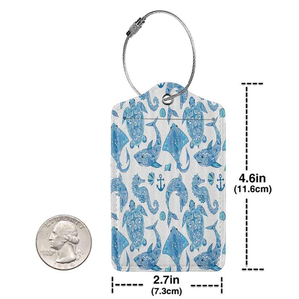 Decorative luggage tag Anchor Decor Collection Pattern with Turtle Dolphin Seahorse Mollusk Shark Fauna Exotic Tropical Aquatic Image Suitable for travel Aqua Blue W2.7 x L4.6