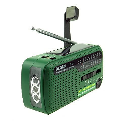 Crank Solar Radio - Degen DE13 FM AM SW Receiver Crank Dynamo Radio With Mobile Phone Charger Flashlight