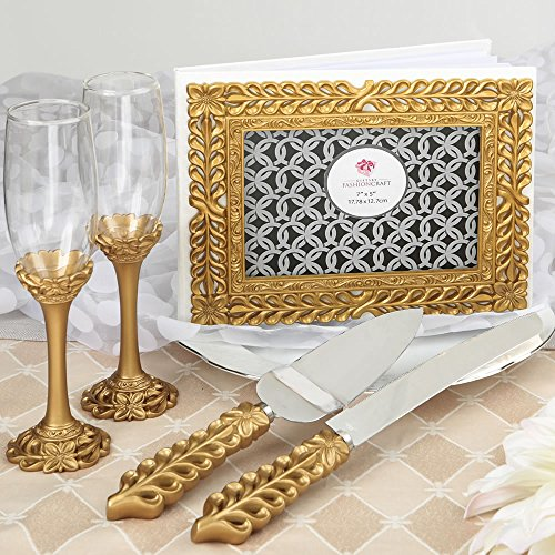 Gold Lattice Botanical Collection Set, Consisting Of A Cake Knife Set, A Flute Set And A Guest Book - Gold Accent Cake Knife