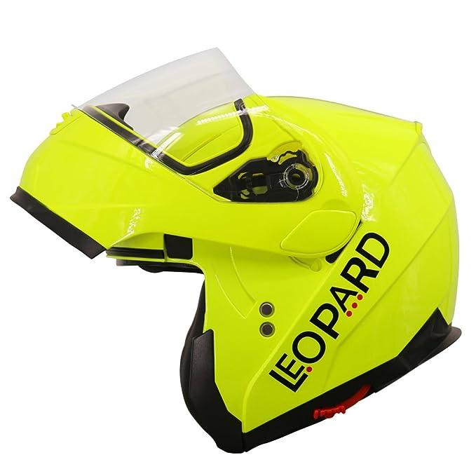 Amazon.es: Leopard LEO-838 DVS Cascos modulares de Moto Motocicleta Bicicleta ECE 22-05 Aprobado Doble Visera | #4 Amarillo M (57-58cm)
