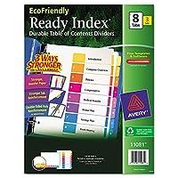 Avery EcoFriendly Ready Índice Tabla de contenido Divisores, 8 pestañas, 3 juegos (11081)