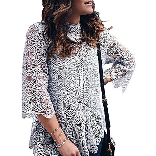 [해외]Chicwish 여자의 회색 크로 셰 뜨개질 레이스 꽃 페 프의 블라우스 상단 프 릴 스크롤 헴 라인 / Chicwish Women`s Grey Crochet Lace Flower Peplum Blouse Top with Ruffle Scrolled Hemline