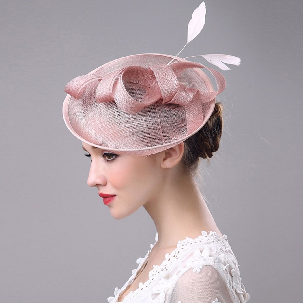 Aukmla Fascinator Top Hat Billycock Feather Derby Hat with Clip for Women and Girls