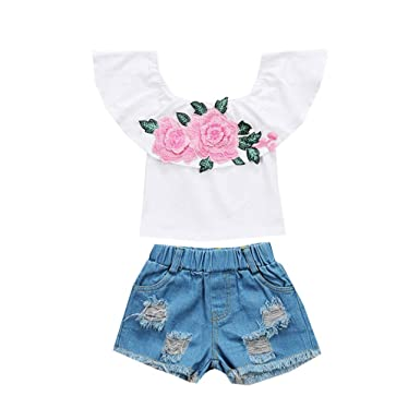 5884d474ad0b7 Amazon.com  Cuekondy Toddler Baby Girls Kids 2019 Summer Clothes Outfits  Fashion Off Shoulder Rose Print Tops+Hole Denim Shorts Set  Clothing