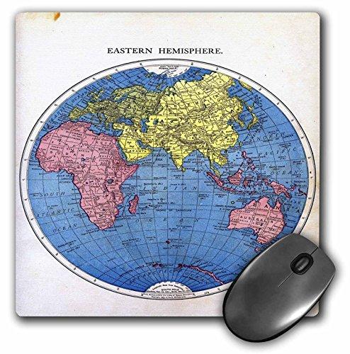 3dRose Florene Vintage - Eastern Hemisphere Map - MousePad (mp_40760_1)
