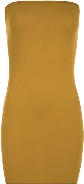 37ad7e6eab9 WearAll Women s Boob Tube Stretch Bodycon Short Sleeveless Top Mini Dress -  Mustard - 12-