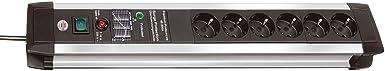 Brennenstuhl Premium-Protect-Line, Steckdosenleiste 6-fach mit Überspannungsschutz - stabiles Aluminium-Gehäuse (3m Kabel und