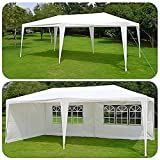 Qisan Carport Canopy tent 10 X 20-feet Domain Carport with sidewalls, white for Party/Commercial Activity(calm environment only)