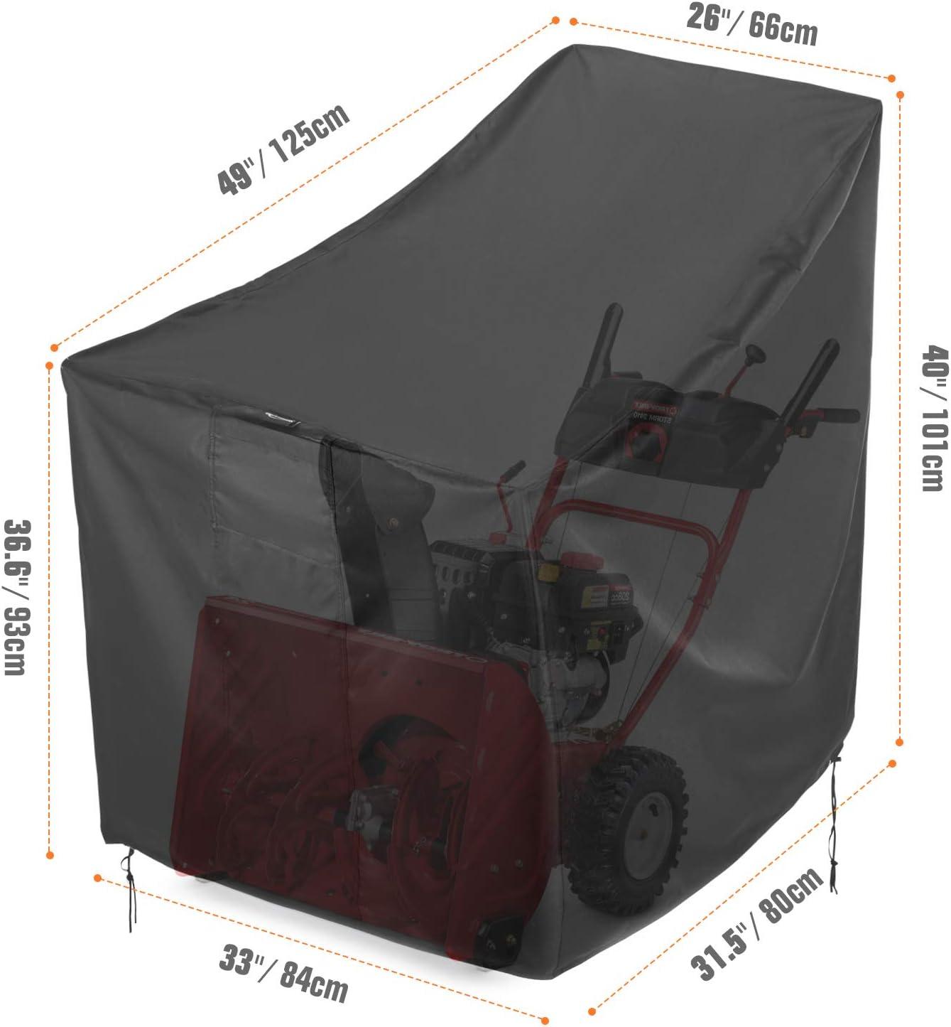 Sunkorto Abdeckung f/ür Schneefr/äse Schneeschieber Schutz wasserdichte Abdeckplane aus 600D Oxford-Stoff und PVC-Beschichtung