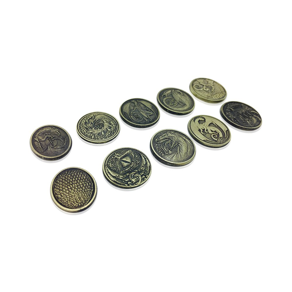 Dragon Variety Pack (Set of 10) (Metal plated novelty) Adventure Coins For RPGs / LARP | DnD Pathfinder Live Action Role-playing GameS