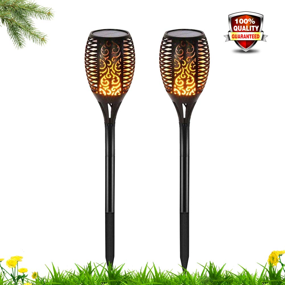 CRTing Solar Lights Outdoor Upgraded Waterproof Flickering Flames Torch Lights LED Lamps Auto On/Off Security Spotlights Landscape Decoration Lighting for Driveway Patio Pathway (Black, 2 Packs)