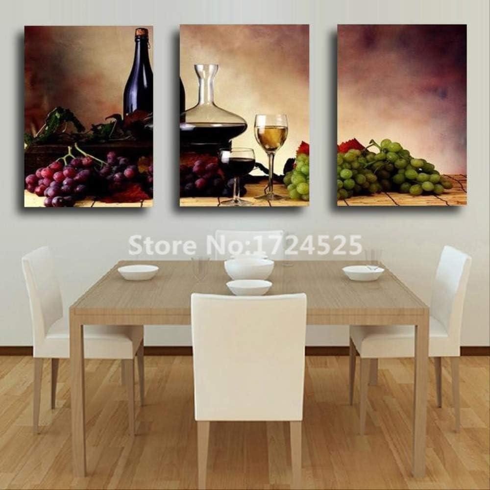LWJZQT Cuadro sobre Lienzo Arte Moderno De La Pared De 3 Paneles Vino Bodegón Pintura Fruta Cocina Decoración del Hogar Lienzos Carteles 50×70cm